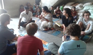 The team and Salma Ben meeting Arjun, the Surpaanch, of Dolatpura.