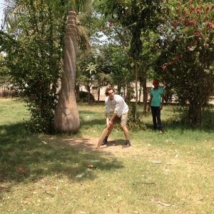 Mitchell plays cricket with the children of Katol